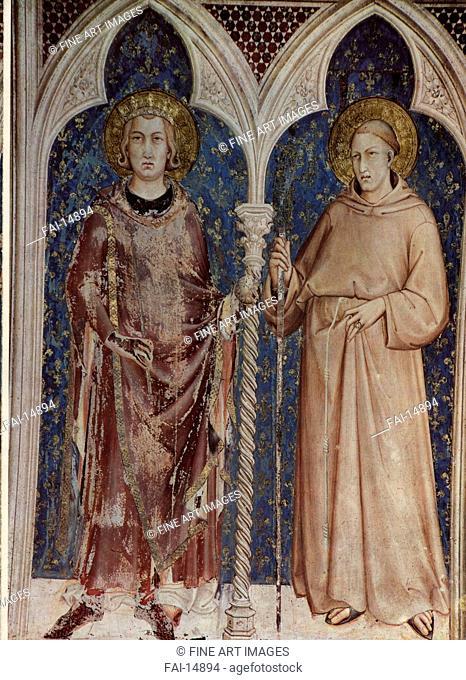 Saint Louis IX of France and Saint Louis of Toulouse (Fresco of the Basilica of San Francesco d'Assisi). Martini, Simone, di (1280. 85-1344). Fresco