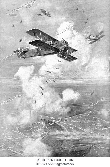 A Breguet French biplane bomber in action, c1917 (1926)