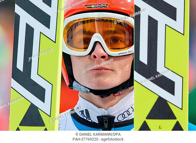 Richard Freitag of Germany reacts after his first competition jump of the men large hill individual ski jumping at the Nordic Skiing World Championships in Val...