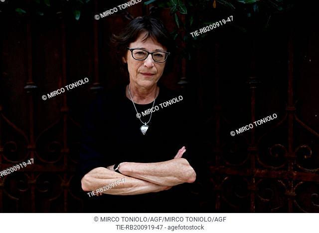 The writer Andree A. Michaud poses for photographers at Literature Festival Pordenonelegge 2019, Pordenone, ITALY-19-09-2019