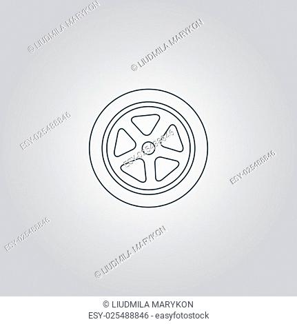 Wheel. Flat web icon, sign or button isolated on grey background. Collection modern trend concept design style vector illustration symbol