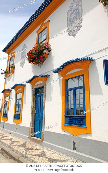 Colorful facades in Aveiro, Beiras region in Portugal