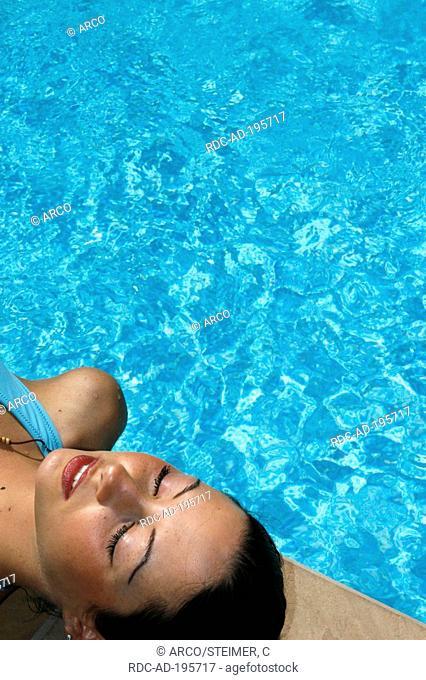 Woman at swimming pool