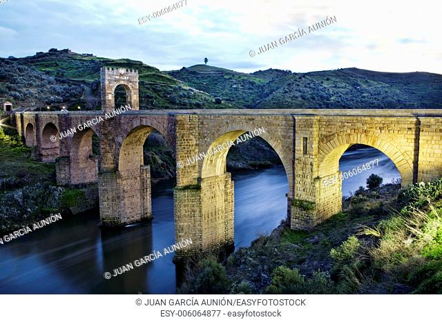 Roman bridge of Alcantara. Dates from de II century B.C. It was very important over the history as a strategic point to cross the Tagus river during Roman...