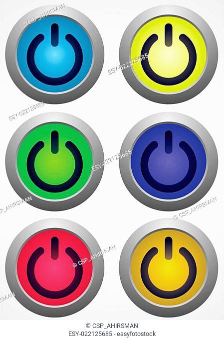 set of power button vector