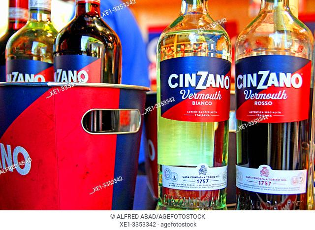bottles of vermouth Cinzano, gastronomic festival 'Tast a la Rambla', 6th Gastronomy Week of Barcelona, Catalonia, Spain