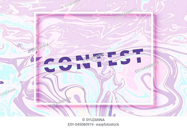 Contest lettering on liquid background. Horizontal banner. Ultra violet palette colors. Element for graphic design. Template for social media