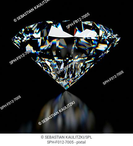 Diamond on black background, Illustration