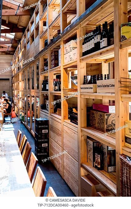 Spain, Catalonia, Barcelona, Santa Caterina market, Shelves at the Cuines Barcelona restaurant
