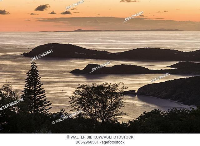 U. S. Virgin Islands, St. Thomas, Charlotte Amalie, elevated harbor view, dusk