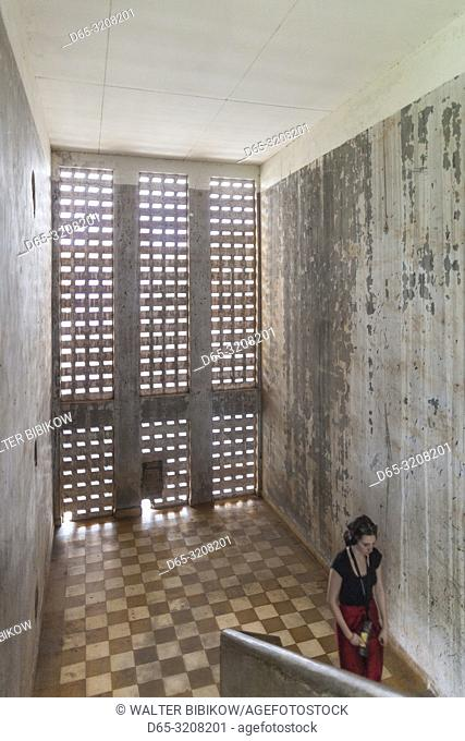 Cambodia, Phnom Penh, Tuol Sleng Museum of Genocidal Crime, Khmer Rouge prison formerly known as Prison S-21, located in old school, staircase