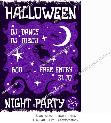 Creative thematic poster for Halloween Night Party. Cartoon style template. Vector illustration