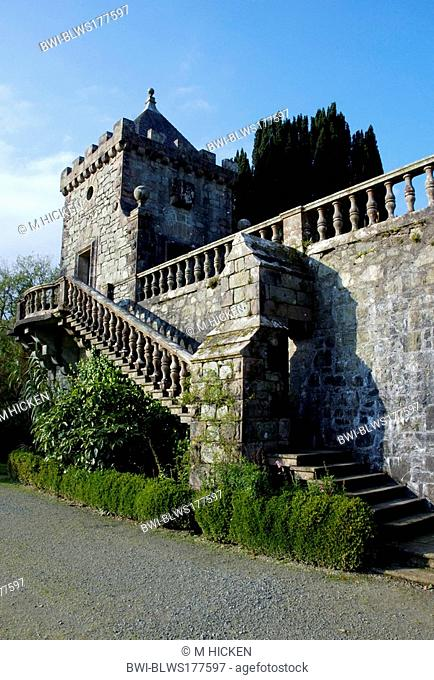 staircase and ballustrade of Torosay castle, United Kingdom, Scotland, Isle of Mull