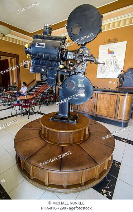 Old film projector, Italian cinema Roma, Asmara, capital of Eritrea, Africa