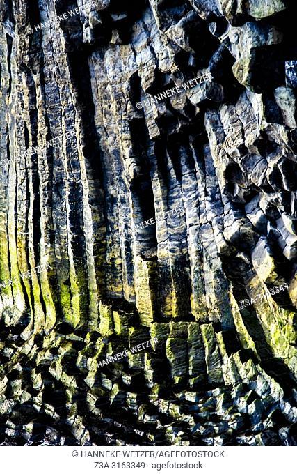Closeup of columnar basalt cliffs at Arnarstapi in Iceland