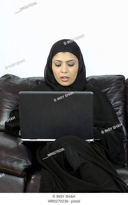 Arab Lady with computer