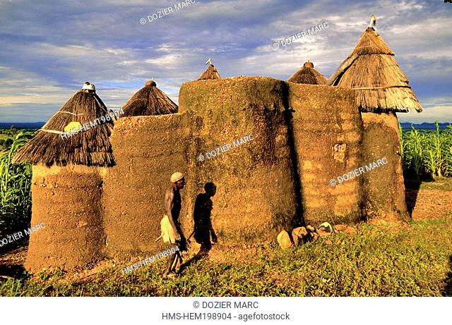 Benin, Atacora County, Koutagou, Tata Somba made with banco mud mixed with straw, typical defensive storeyed house of the Northern Benin