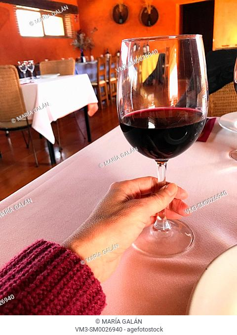 Woman's hand holding a glass of red wine in a restaurant