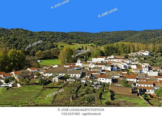 Panoramic view of San Nicolas del Puerto. Sierra Norte Natural Park. Seville province. Region of Andalusia. Spain. Europe