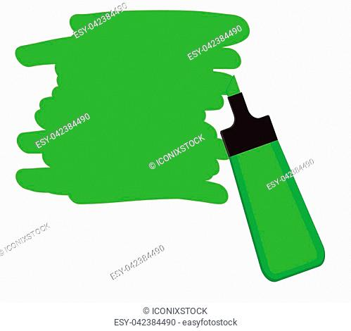 Single green highlighter pen with hand drawn area to highlight text