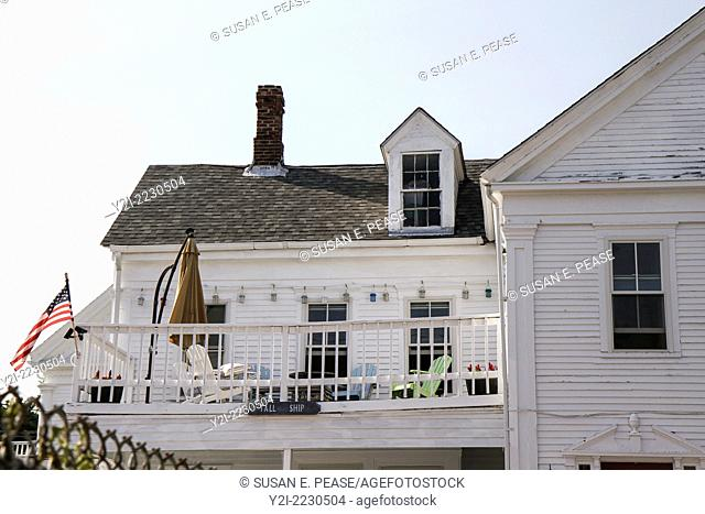 Porch on the second story of a house by the water, Provincetown, Massachusetts, USA