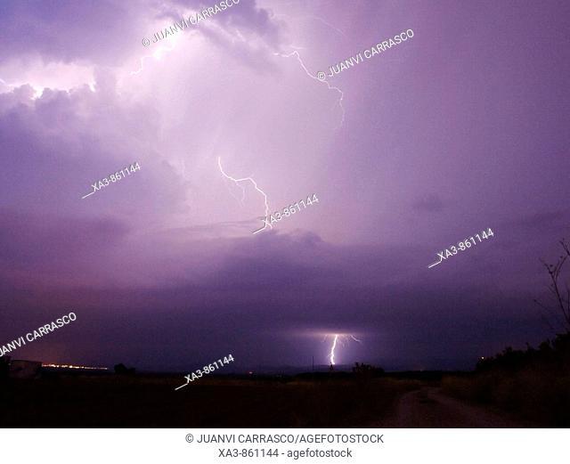 Lightning strikes  Camp del Turia, Valencia province, Spain
