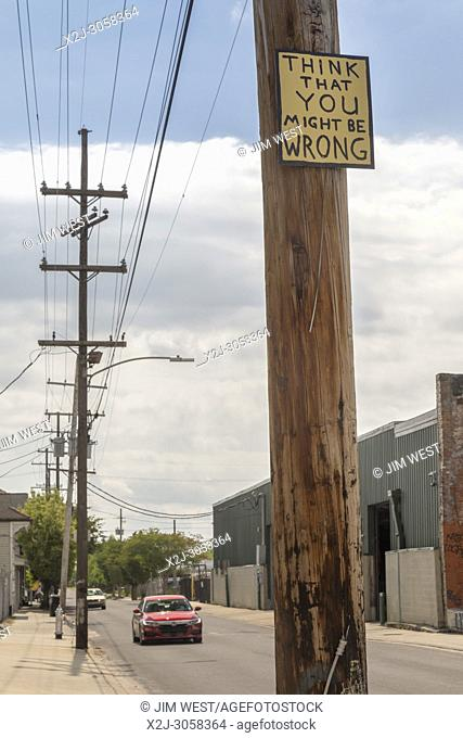 New Orleans, Louisiana - A sign on a telephone pole reads: Think That You Might Be Wrong