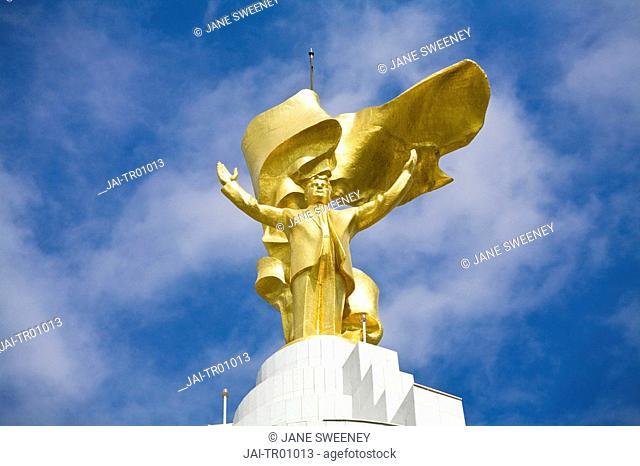 Turkmenistan, Ashgabat, Ashkhabad, Arch of Neutrality with 12m high gold statue of Niyazov