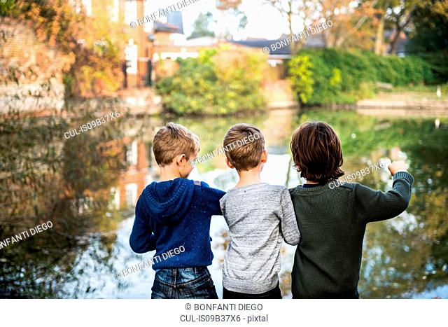 Three young boys, standing beside lake, rear view