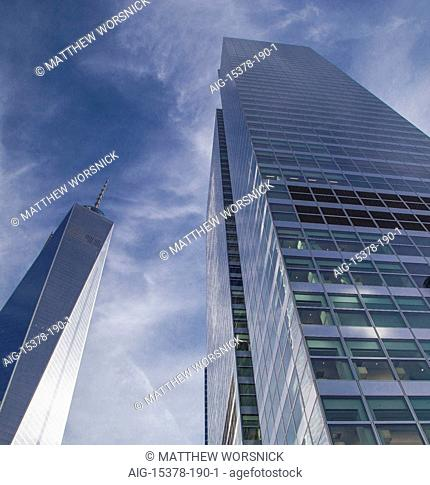 One World Trade Center and Goldman Sachs headquarters in Manhattan's Financial District