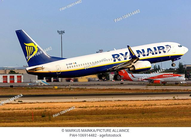 Palma de Mallorca, Spain - July 21, 2018: Ryanair Boeing B737-800 airplane taking off at Palma de Mallorca airport in Spain. | usage worldwide