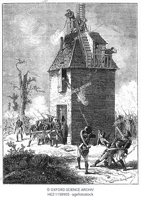 Napoleon's troops defending a telegraph tower, c1815, (c1870). The incident took place shortly before Napoleon's defeat at Waterloo by the allies under...