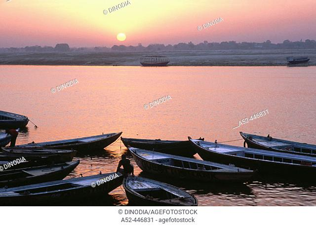 Sunrise boats, Varanasi. Uttar Pradesh, India