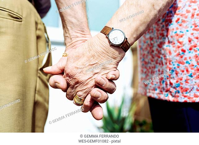 Back view of senior couple holding hands, close-up