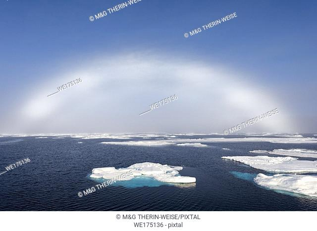 White Rainbow over Pack Ice at 81° North, Arctic Ocean, Spitsbergen Island, Svalbard archipelago, Norway, Europe