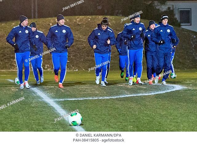 The players of Kazakhstan warm up during a training session prior to the FIFA World Cup 2014 qualification group C soccer match between Germany and Kazakhstan...