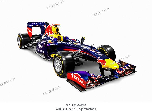 2013 Infinity Red Bull Formula One race car RB9 isolated on white background with clipping path