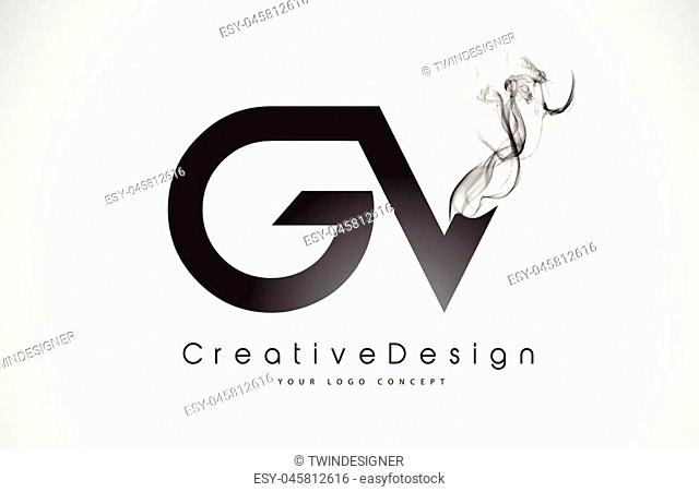 GV Letter Logo Design with Black Smoke. Creative Modern Smoke Letters Vector Icon Logo Illustration