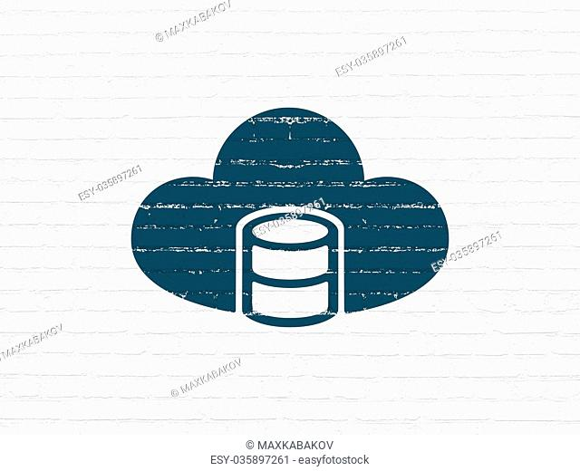 Cloud computing concept: Database With Cloud on wall background