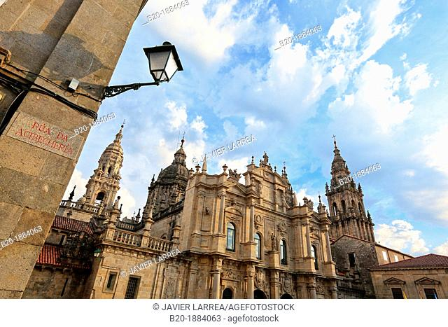 Cathedral, Praza da Inmaculada, Rua da Acibecheria, Santiago de Compostela, A Coruña province, Galicia, Spain