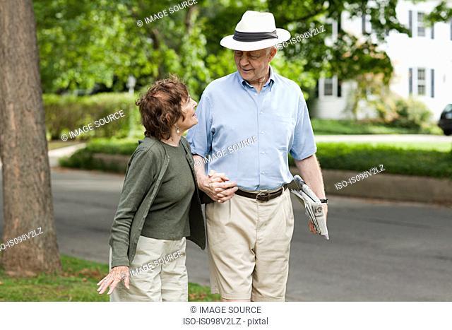 Senior couple in neighborhood
