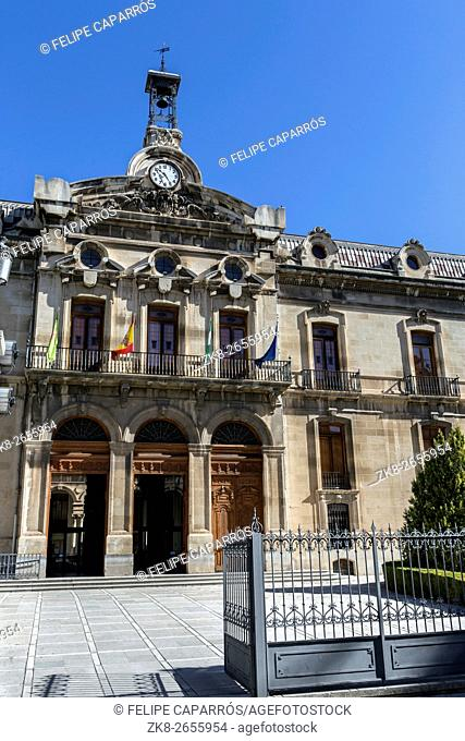 Palace of the County council of Jaen, the neoclassical facade is the work of Jorge Porrua y Moreno in the year 1867, located near the Cathedral of Jaen, Spain