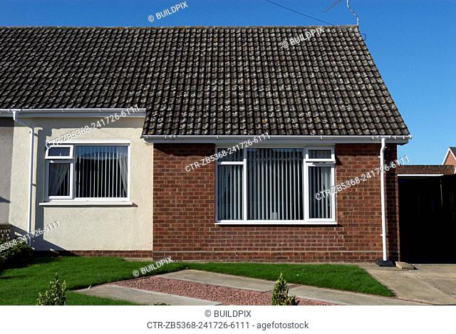 1960s Bungalow with front garden, England, UK