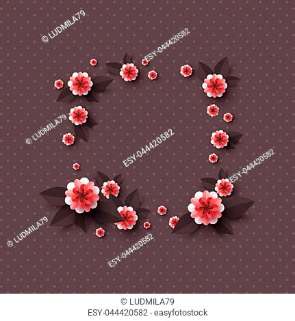 Paper cut decorative flowers. Template for greeting card, holiday background. Papercraft style. Vector illustration