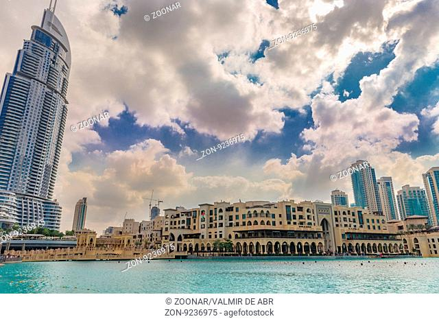 Dubai, United Arab Emirates - Dec 2, 2014: Commercial Center Souk Al Bahar and he Address hotel, near the highest building in the world