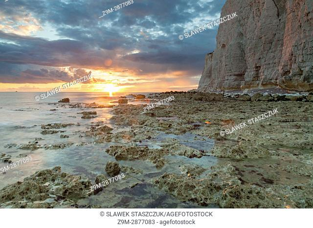 Sunset at Hope Gap near Seaford, East Sussex, England