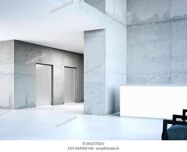 Modern business building hall with elevators. 3d rendering