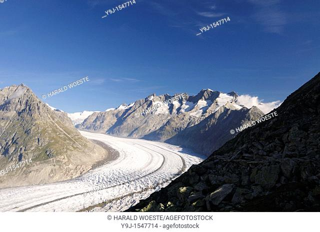Switzerland, Valais, Western Europe, Jungfrau Region, Aletsch Glacier UNESCO world heritage site nr  Bettmerhorn