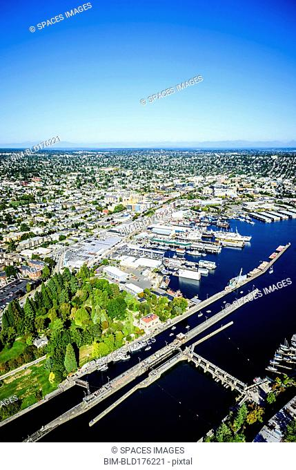 Aerial view of Ballard Locks in Seattle cityscape, Washington, United States