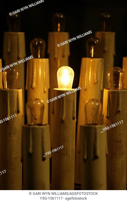 plastic altar candles in church in rome